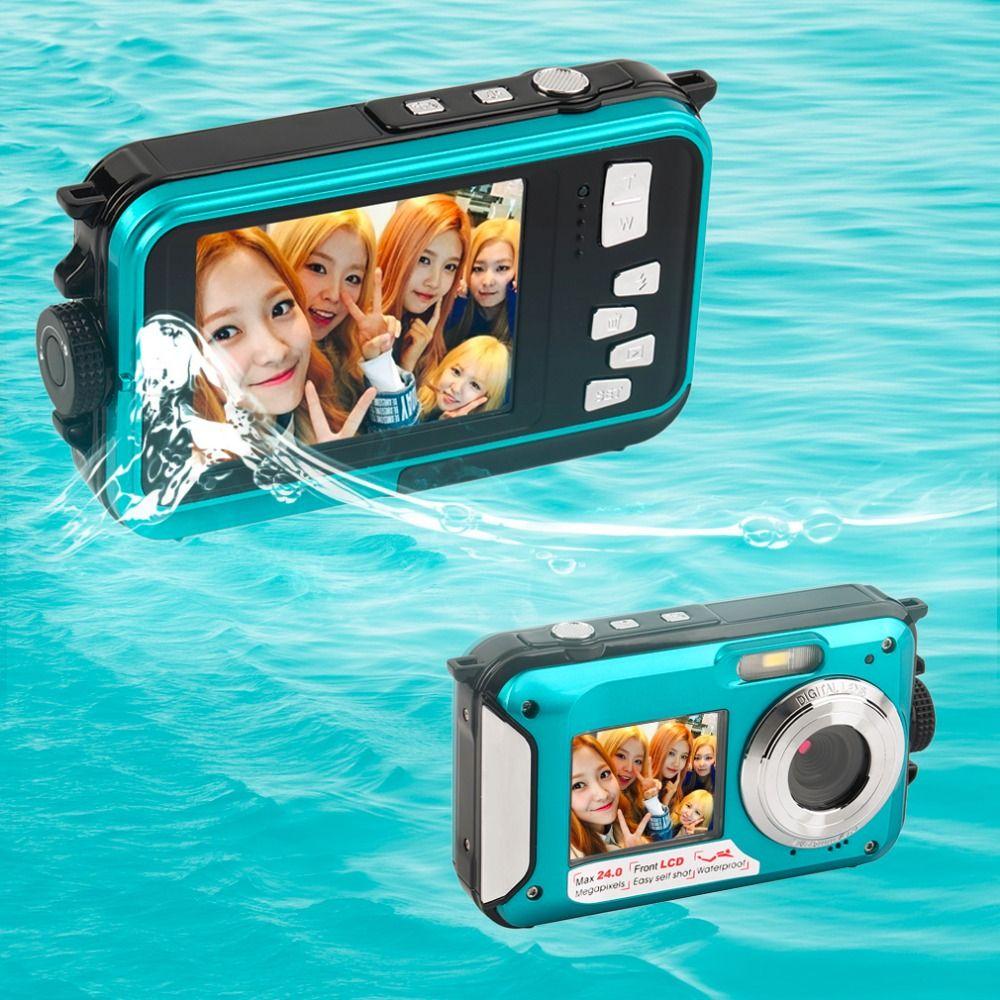 2.7 TFT Waterproof Digital Camera Full HD Underwater Camera 24 MP Video Recorder Selfie Dual Screen DV Recording Camera r25