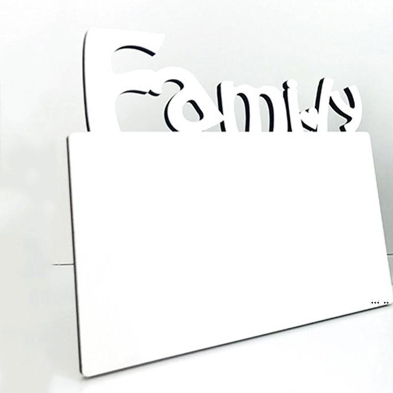 Sublimazione in legno Blank Photo Frame Tre Dimensional Hollow Lettera Famiglia Famiglia Cornice Casa Decorazione creativa Ornamenti DHF5705