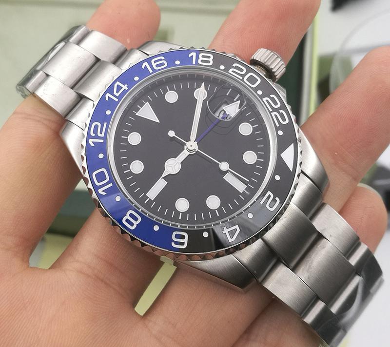 New Luxury GMT Herren 2813 Automatische Bewegungsuhr Selbstwind Männer Mechanische Designer Uhren Modesport SS Armbanduhren Armbanduhr