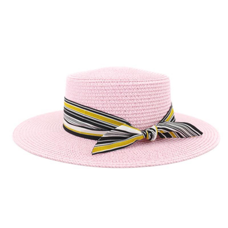 straw hats women summer spring flat top with ribbon band bowknot women hats summer elegant wide brim handmade outdoor sun hats
