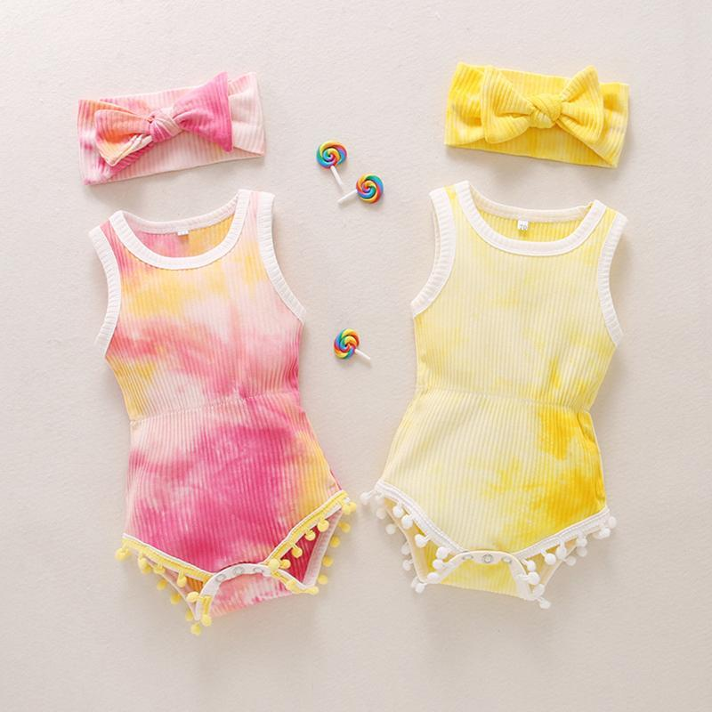 Clothing Sets 0-18Months Born Infant Baby Girls Ribbed Tie-Dyed Romper Bodytsuit+Headband 1047 Outfits 2 Styles Yellow And Red Clothes