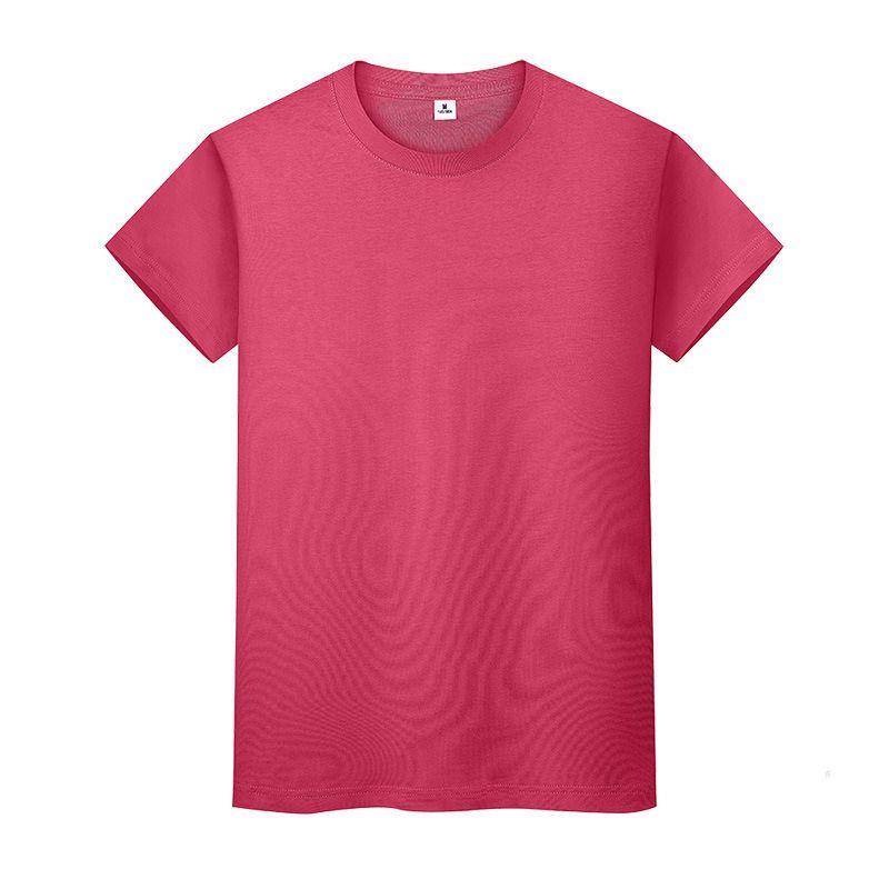 T-shirt de couleur solide ronde en coton d'été Chemise de fin de coton à manches courtes et à manches longues à manches longues 7x0m