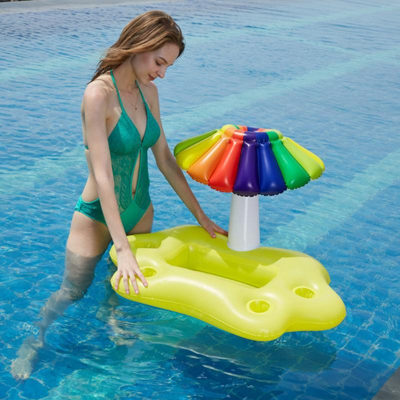 Pool & Accessories Inflatable PVC Water Drink Rainbow Coconut Tree Swimming Floating Cup Holder Mushroom Umbrella Bottle