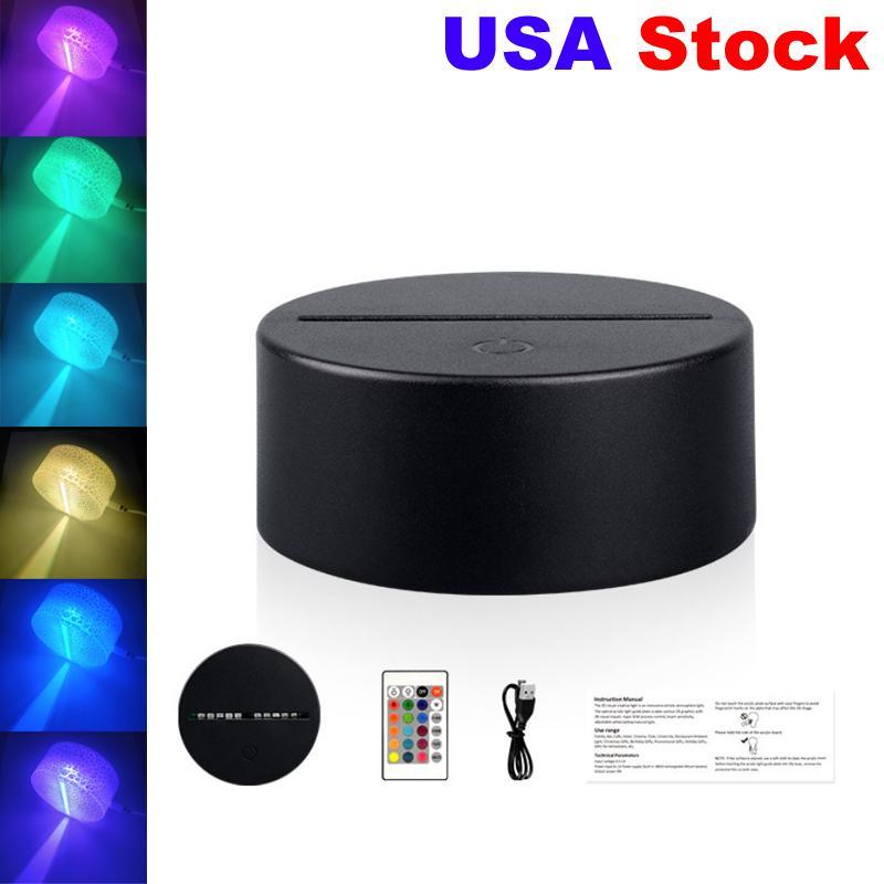أضواء RGB LED مصباح قاعدة ل 3d الوهم مصباح 4 ملليمتر الاكريليك ضوء لوحة aa البطارية أو dc 5 فولت usb ضوء الليل