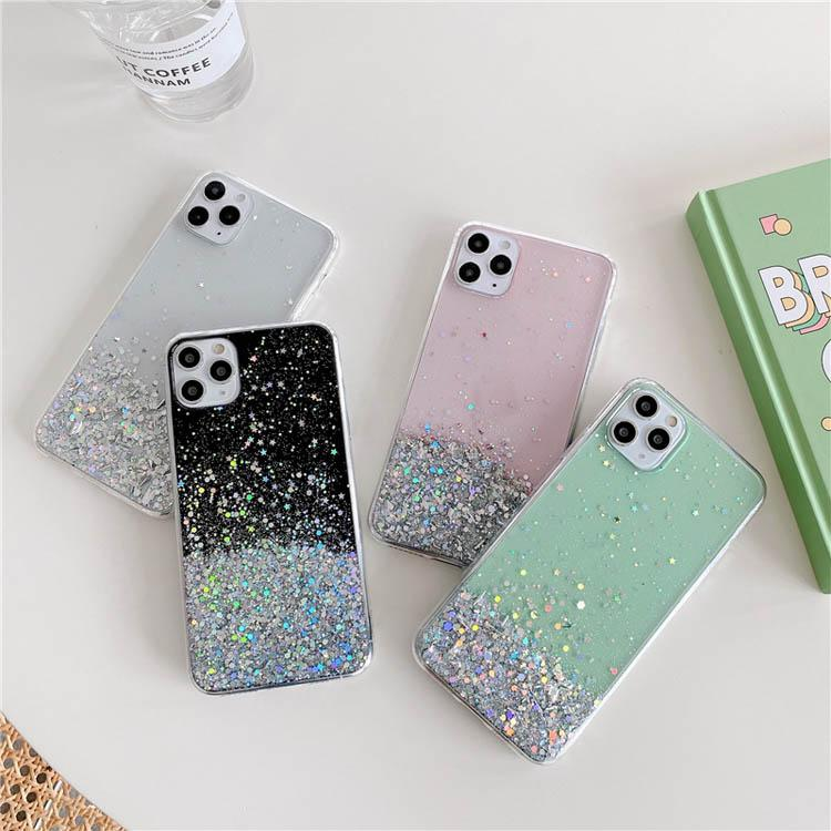 Glitter Paillettes Designer Phone Cases Soft Silicone Covers Bling Stars Tpu Case Cover per iPhone 12 Pro Max 11 XS XR 8 7