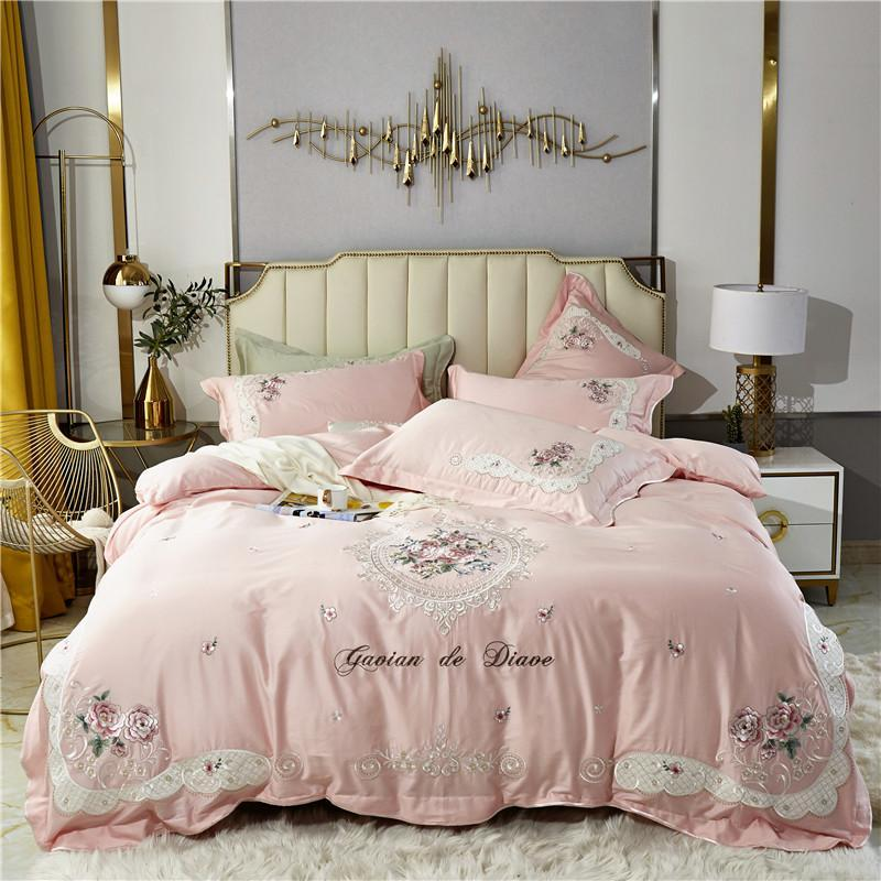 Bedding Sets Luxury 100S Pink Embroidery Egyptian Cotton Set Double Duvet Cover Bed Linen Pillowcases Home Textile King Qunne