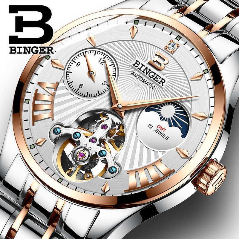 Swiss Binger Mechanische Mode Männer Uhren Skeleton Handgelenke Automatische Uhr Wasserdichte Relogio Masculino