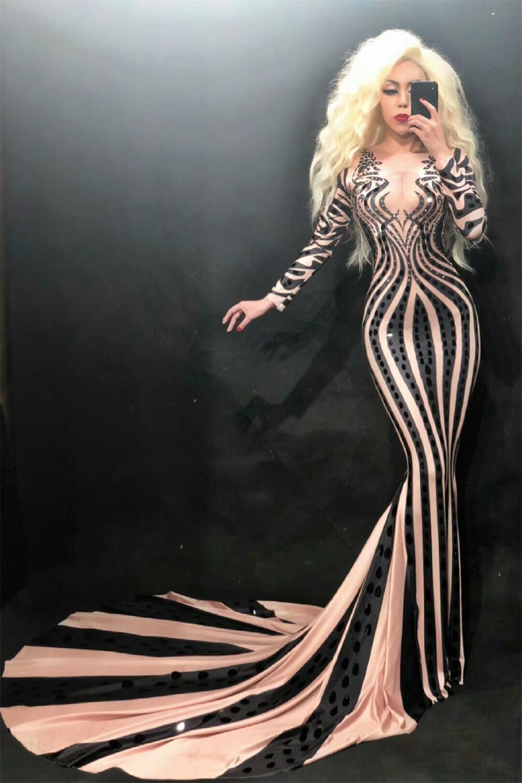 Мода черные блестки стразы русалки платье женские вечеринки вечеринки вечеринки вечеринки празднуют длинное хвостовое платье элегантные платья Bodycon
