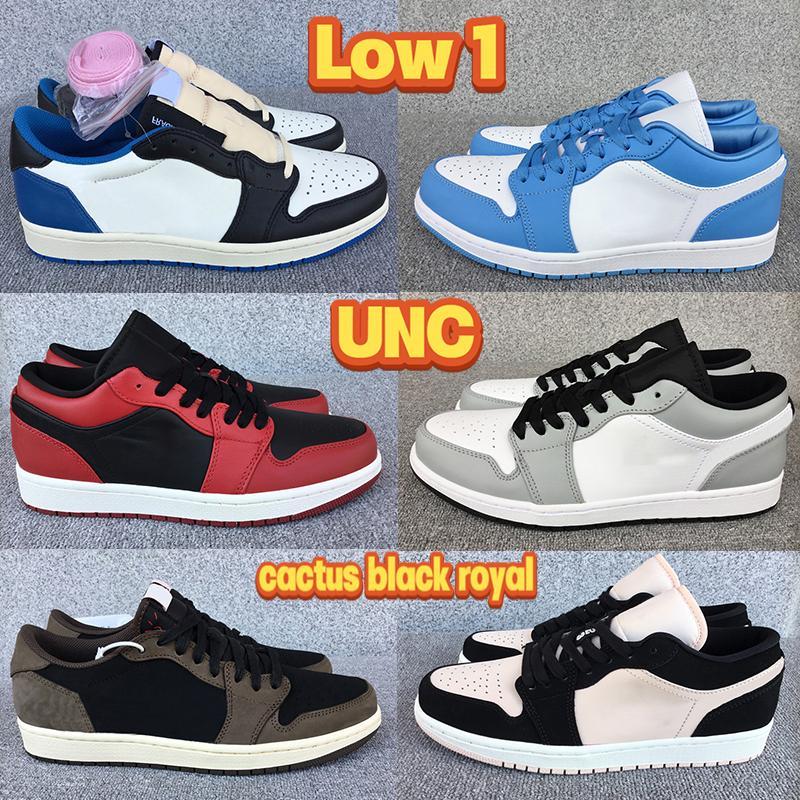 Più basso basso 1 1s Università blu UNC Uomo Scarpe da basket Cactus Nero Royal Reverse Bred Bred Smoke Grigio Mens Donne Sneakers US 5.5-11