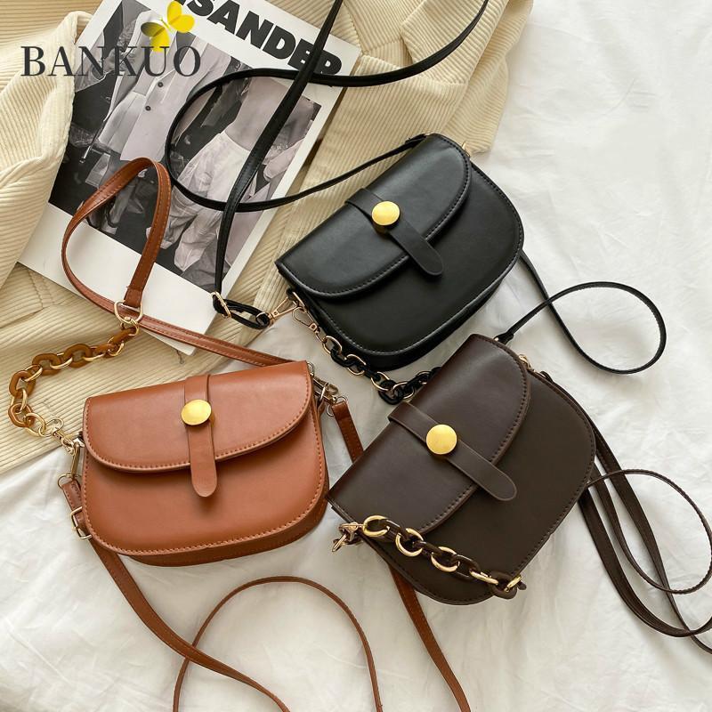 PU New Bag Popular Crossbody Bankuo Bolso de cuero de la moda del hombro de las mujeres sólidas Color Girly Vintage Z243 FGQFU