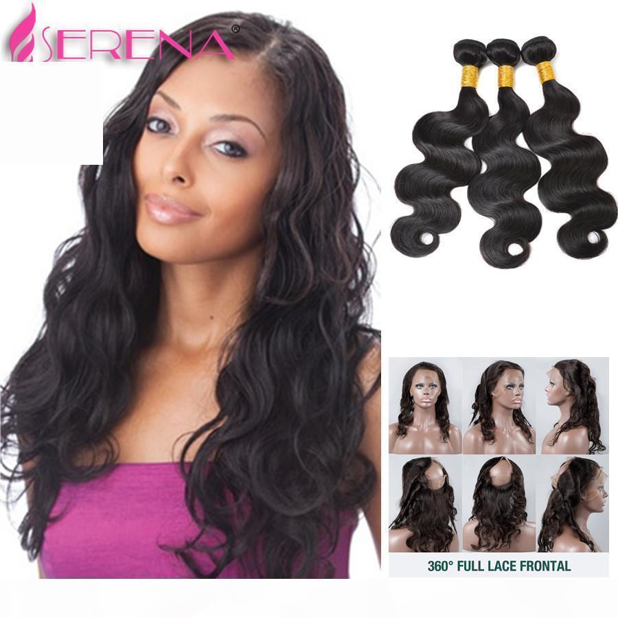 360 Frontal de encaje con el paquete 7a Brasileño Virginal Cierre de cabello con paquetes Brasileño Body Wave Pre inclinado Frontal con paquetes