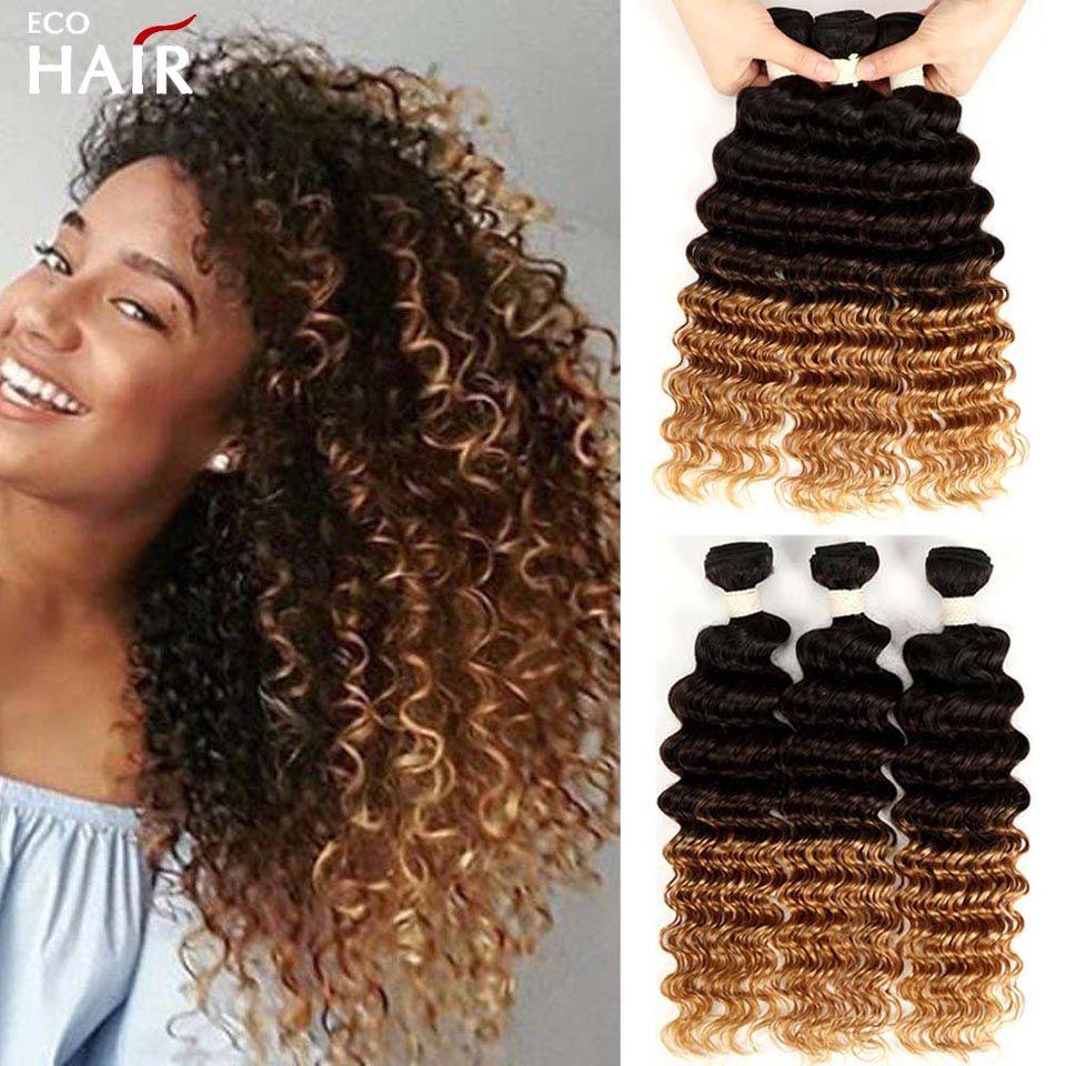 Ombre Deep Wave Human Hair Bundles 1B 4 27 30 Three Tone Remy Blonde Brazilian Curly Weave Bundle