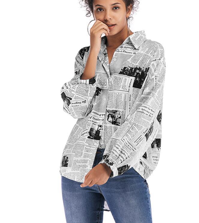 2020 neue Herbsttops Mode Neue gedruckte Langarmshirts Sexy Persönlichkeit Hemden Freier Lieferung