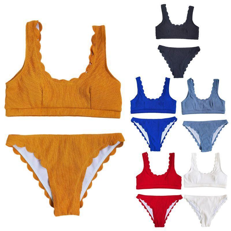 Женщины Sexy Bikini Set Ribbed Knit Push Up Купальник Scalloped край купальный костюм
