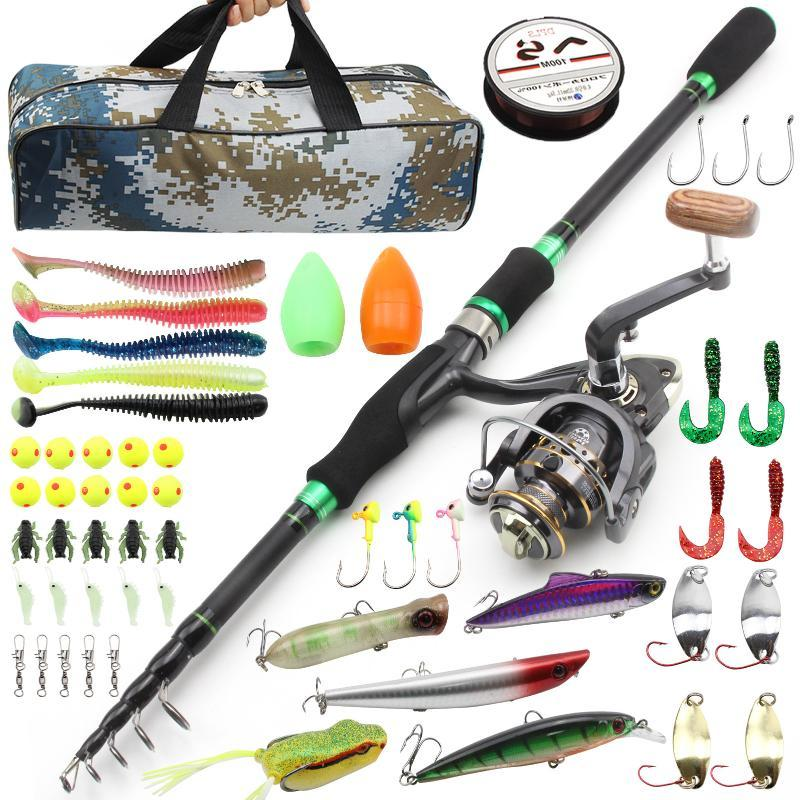 Boat Fishing Rods 1.8m2.1m2.4m2.7m Rod And Reels Bag Set Travel Trout Reel Combos Vara De Pesca Com Molinete