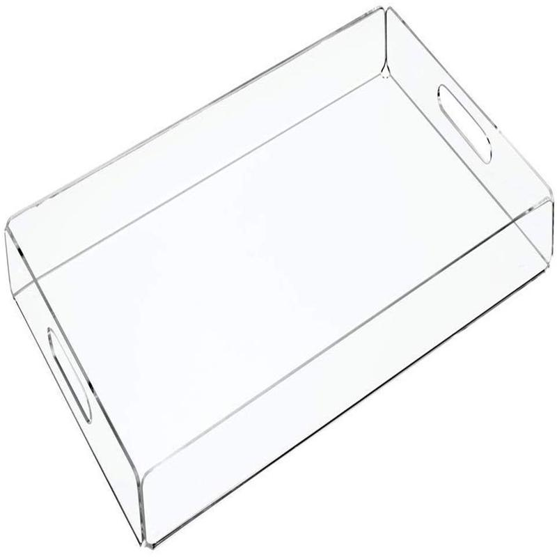 Factory fashionable style acrylic serving display tray custom clear plexiglass coffee serving rectangle tray