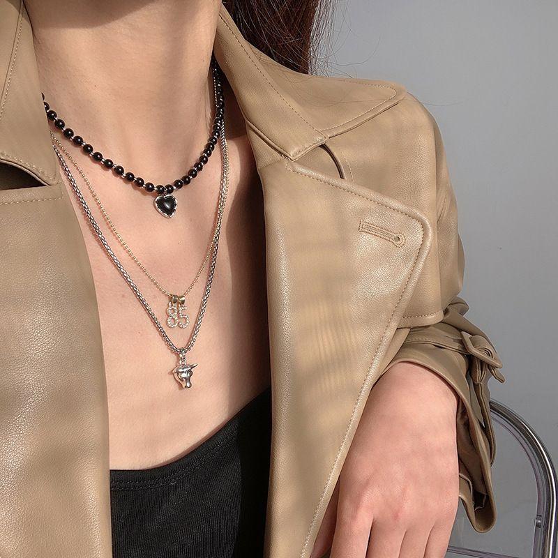 Halskette Wang Yibo Multi Layered Bla Love 85 Digitaler Anhänger, Schlüsselbeinkette, längst Stil, vielseitige Nelose, Weiblich