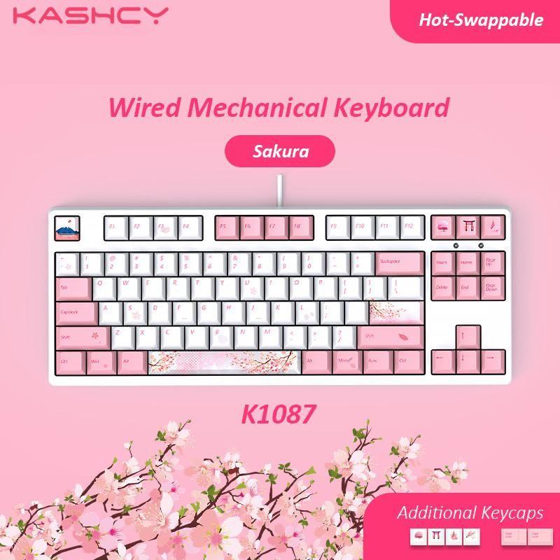 Claviers Kashcy K1087 Sakura câblé Mechanical Gaming Clavier Swappable Interrupteur avec 87 Touches PBT Dye Sublimation KeyCaps Type-C Port