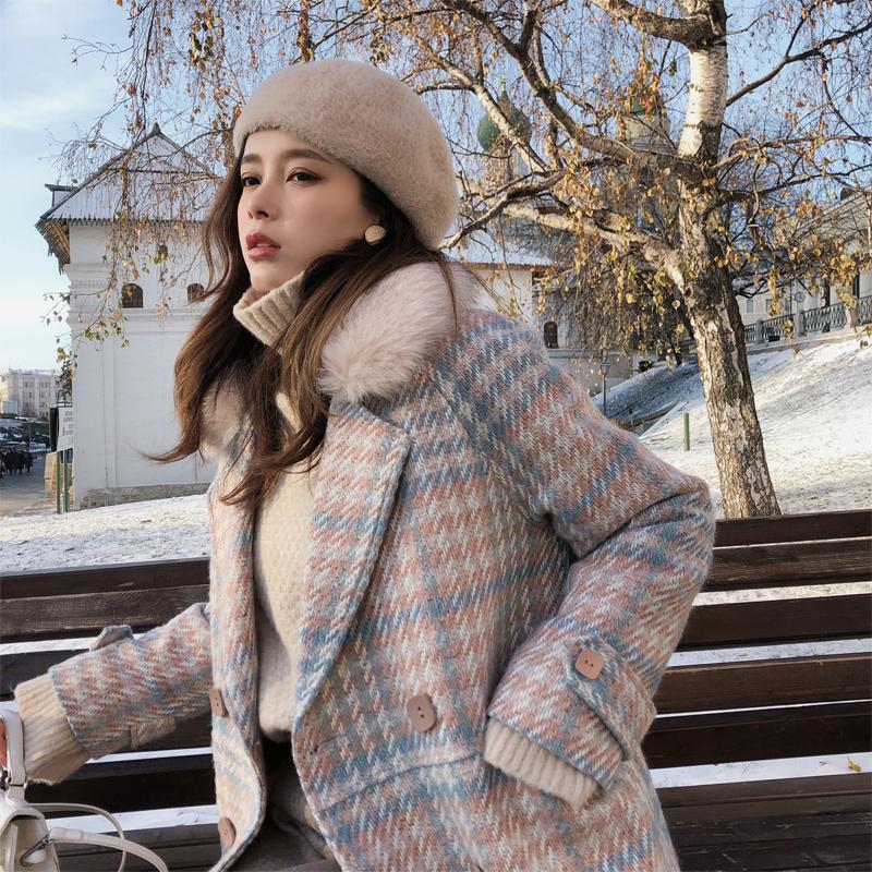 Mujeres Chaqueta Outerwear Outer Ropa de invierno Moda Cálida Tela Escocesa Móvil Femenino Elegante Doble Breasted Wooled Abrigo Grueso Grueso