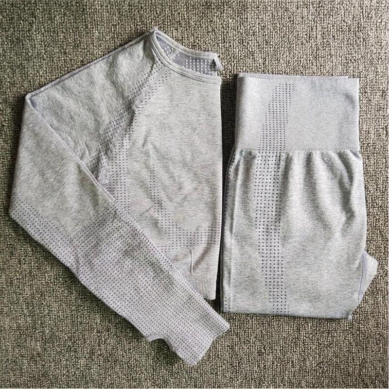 Seamless Yoga Set Fitness Sports Ternos Sleeves Camisetas Cintura alta Running Leggings Calças de treino Camisas