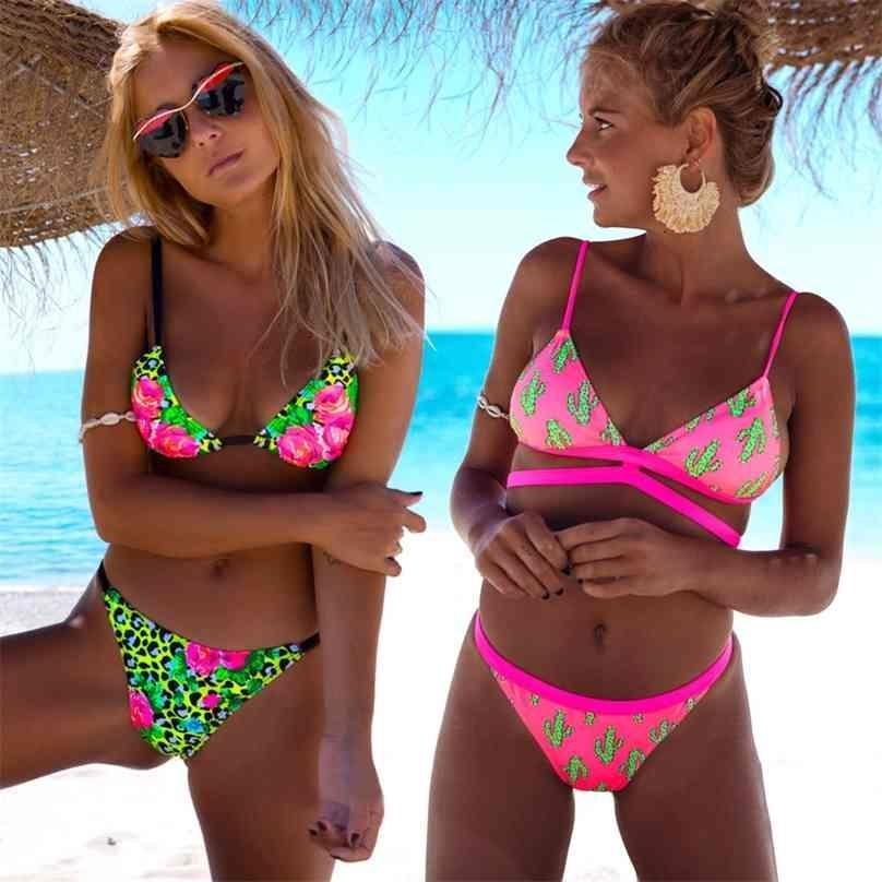 Sexy Imprimer Bikinis Femme Maillot De Maillot De Maillot De Maillot De Maillot de bain Femelle Halter Bain Suit Plage Porter Brésilienne Maillot de Bain Biquini 210628
