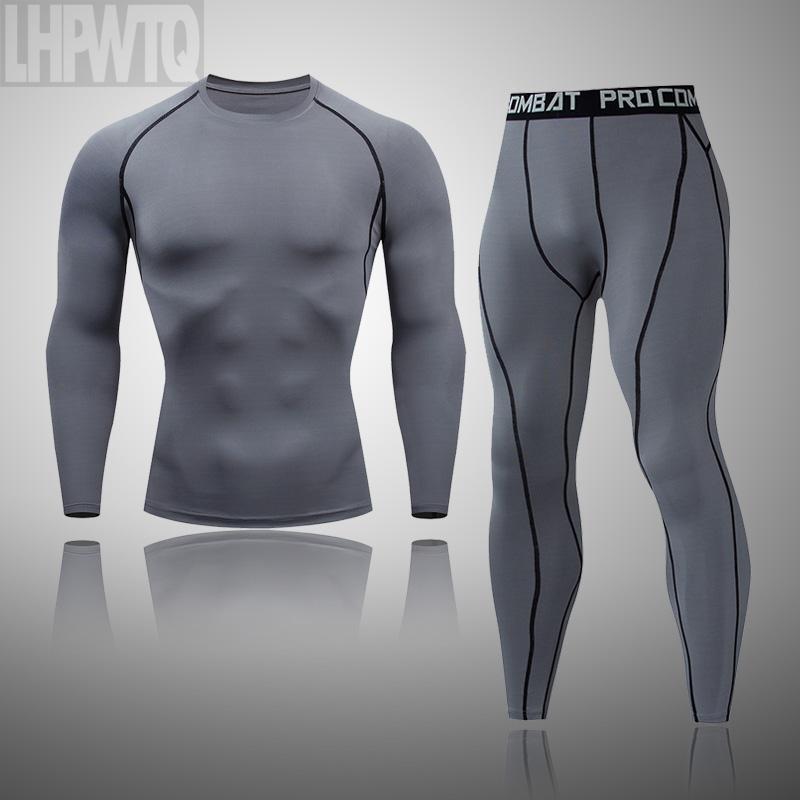 Ensembles d'exécution Hommes Tracksuit Gym Fitness Compression Compression Sports Vêtements Jogging Sport d'hiver Sous-vêtements thermiques
