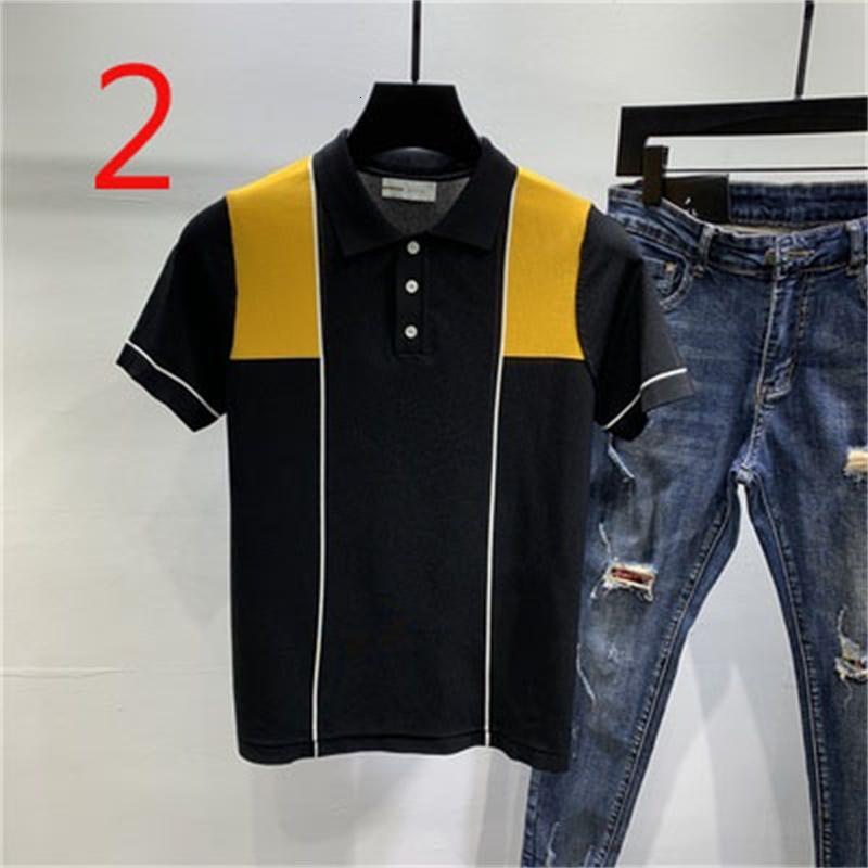 2021 Новые мужские Нью-Йорк Корейский ледяной шелковые вязаные полусмысленные дышащие футболки экипаж шеи вышивка с коротким рукавом AE3S