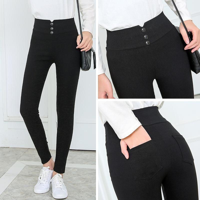 Женские черные брюки карандаш брюки пружины падение кнопка Pocke брюки женские тонкие дамы джинсовые брюки женские высокие талии брюки