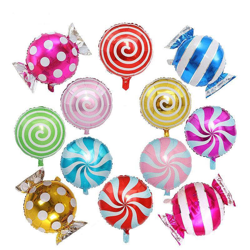 12pcs Set colorato candy foglio palloncini set palloncino rotondo lecca-lecca palloncino per la decorazione della festa di nozze di compleanno