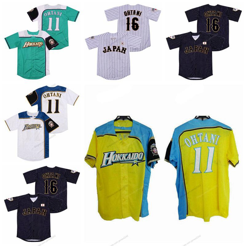 اليابان # 16 shohyi ohtani # 11 الرجال البيسبول جيرسي هوكايدو نيبون لحم الخنزير المقاتلون pinstripe بارد قاعدة جميع مخيط أبيض أسود الأخضر الملائكة المشجعين الفانيلة