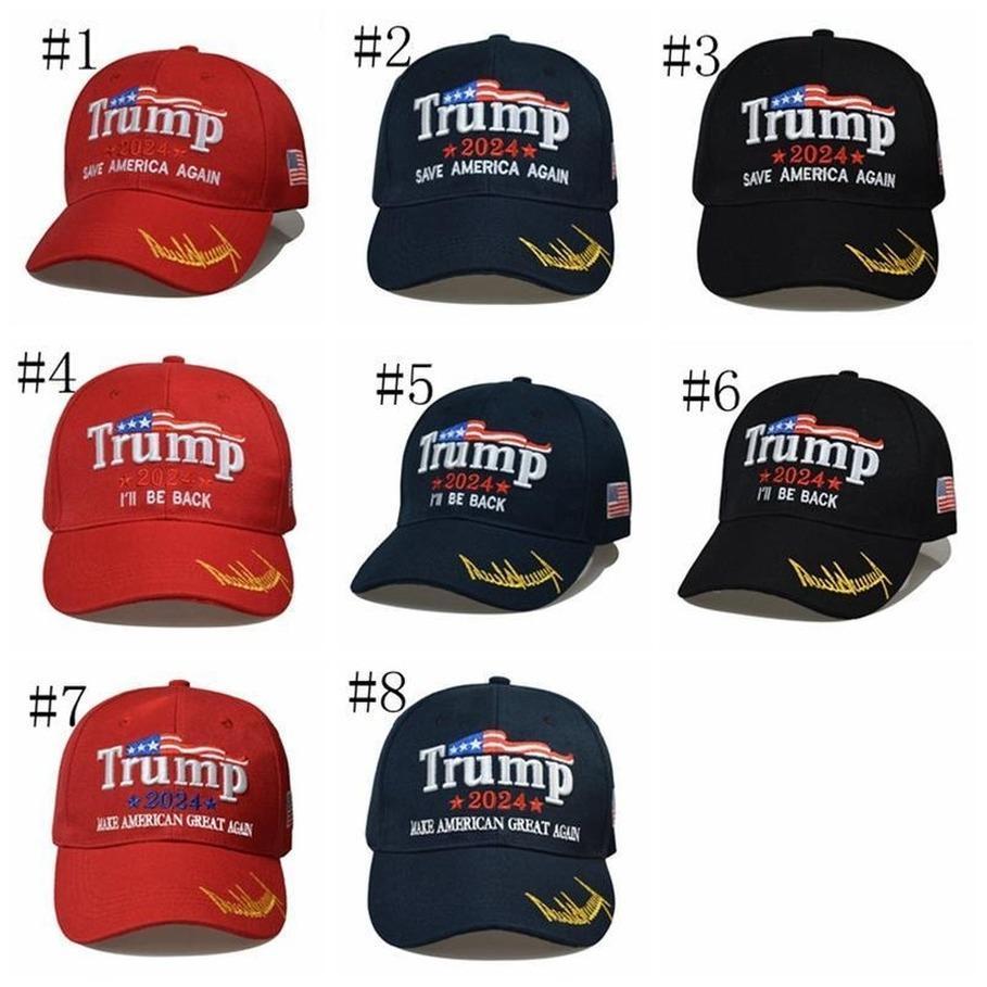 8 스타일 최신 2024 트럼프 야구 모자 미국 대통령 선거 Trmup 동일한 스타일 모자 Ambroidered Ponytail Ball Cap DHL 빠른 배송