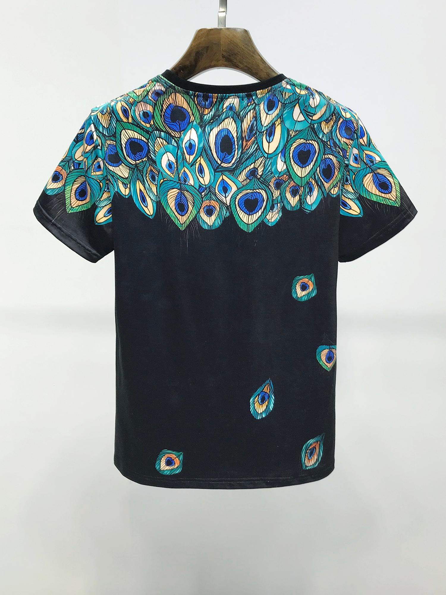 2021 럭셔리 패션 크라운 킹 디자이너 남자의 티셔츠 # 017 유럽 밀란 여름 남성 여성 짧은 소매 클래식 Royal Streetwear 캐주얼 티셔츠