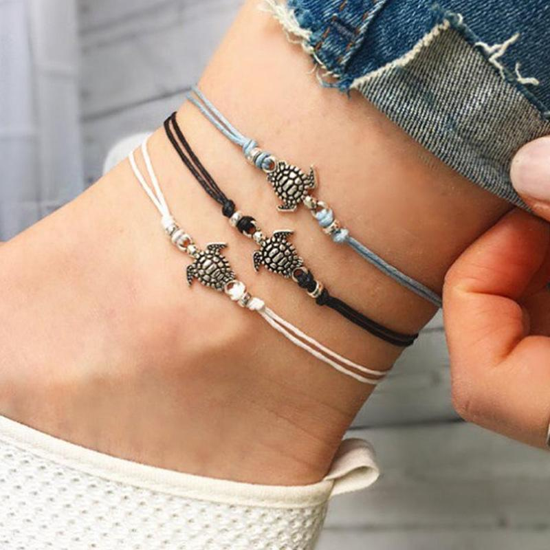 Summer Beach Tartaruga a forma di fascino corda corda cavigliere per le donne braccialetto di caviglia sandali donna sulla gamba catena piede monili B377 440 T2