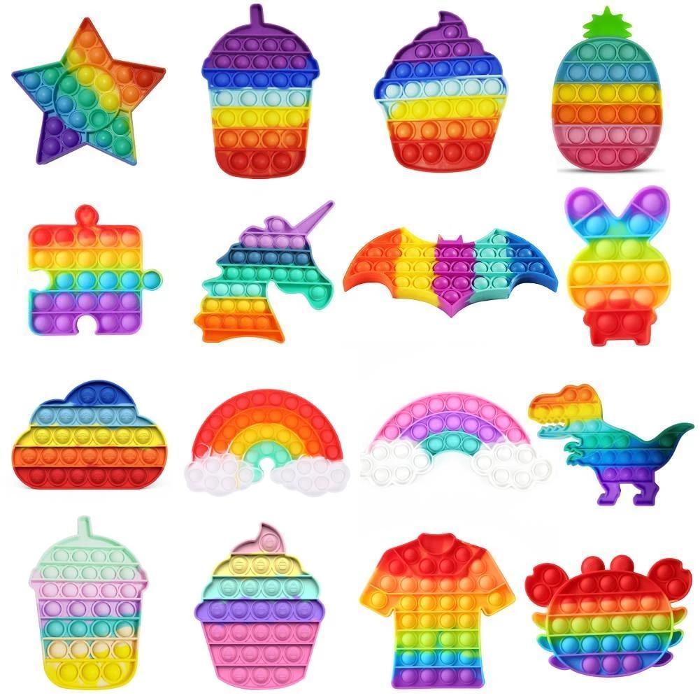 Arcobaleno divertente Pops Fidget giocattolo giocattoli antistress giocattoli per bambini adulti pulsano bolla fermet sensoriale autorità sensoriale esigenze speciali ansia stress regali