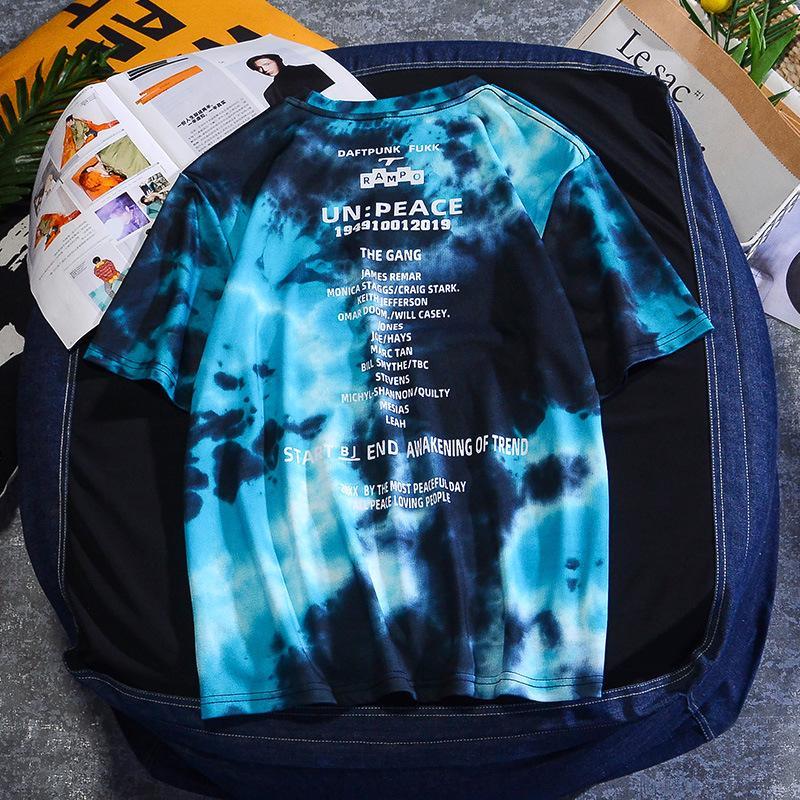 QNPQYX Yeni Harajuku T Gömlek Kravat Boyalı erkek T-shirt 2021 Yaz Kısa Kollu O-Boyun Boy Üstleri Tee Gömlek Moda Erkekler T Shirt
