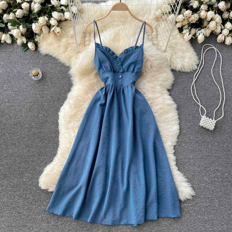 Schwarz / Grün / Blau Sexy Spaghetti Strap Kleid Frauen Elegante V-Ausschnitt Hohe Taille Ärmellose trägerlose Vestidos Weibliche Sommer 2021 Neue Y0603