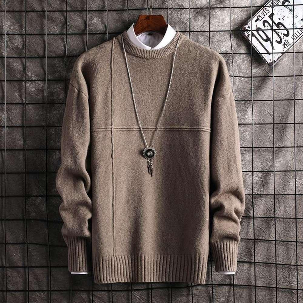 Hombres nuevos suéteres de moda jerseys o cuello delgado ajuste saltadores de punto de punto grueso otoño estilo coreano casual ropa masculina