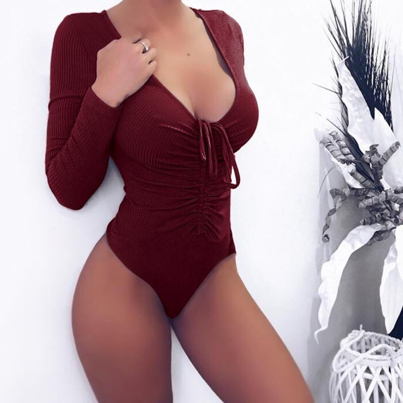 Womens Long Sleeve Stretch Bodysuit Lace Up Skinny Slim Ladies Leotard Body Top Tshirt 6-14