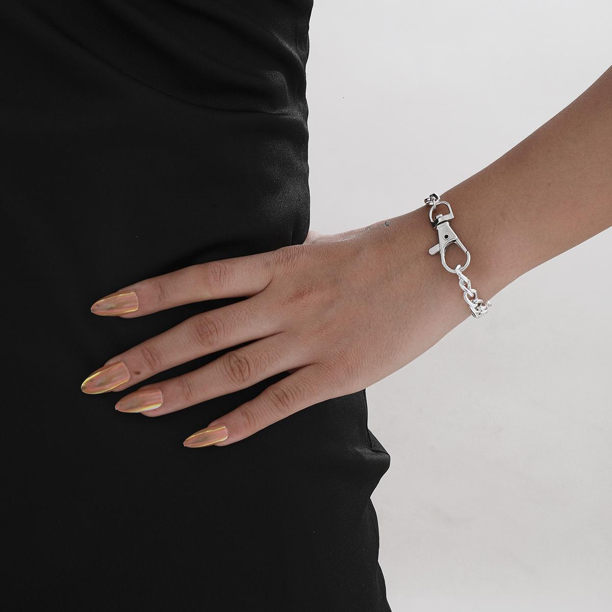 Takı Kişilik Abartı Büyük Kilit Gümüş Zincir Bilezik Çok Yönlü Yaratıcı El Moda Tasarım
