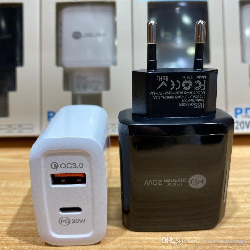 2Port 20W USB C شاحن الجدار مع LED QC3.0 الهاتف المحمول شحن سريع Type-C PD محول السفر لجميع جودة جودة الهاتف