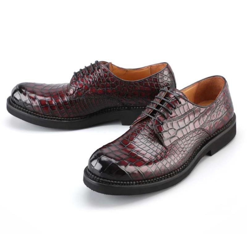 LUOLUNDIKA 20211New Manuelle Pinselfarbe Krokodil Männer Kleid Schuhe Männliche Lederschuhe Wahre Männer Krokodilgeschäft