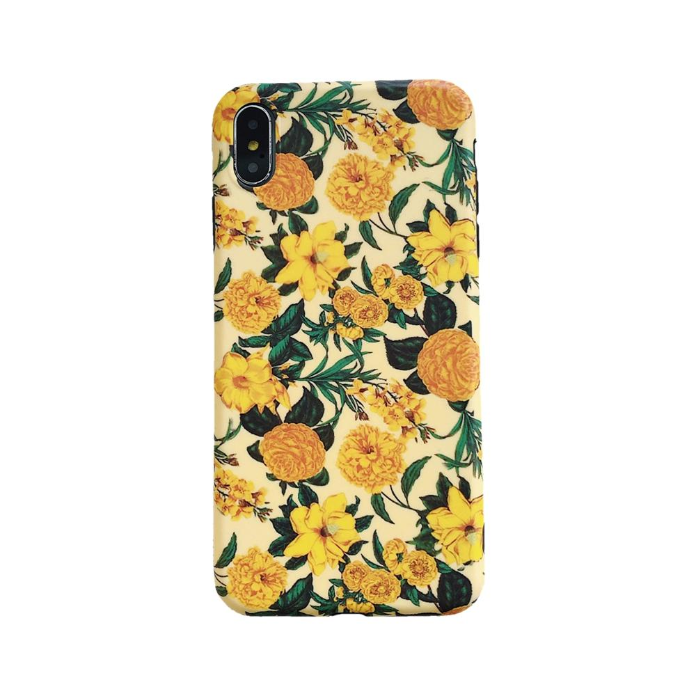 2021 New Arrival Spring Yellow Flower Soft IMD TPU Case For Iphone 12 Pro Max 11 XR XS MAX 8 7 Fashion Stylish Summer Floral Phone Cover