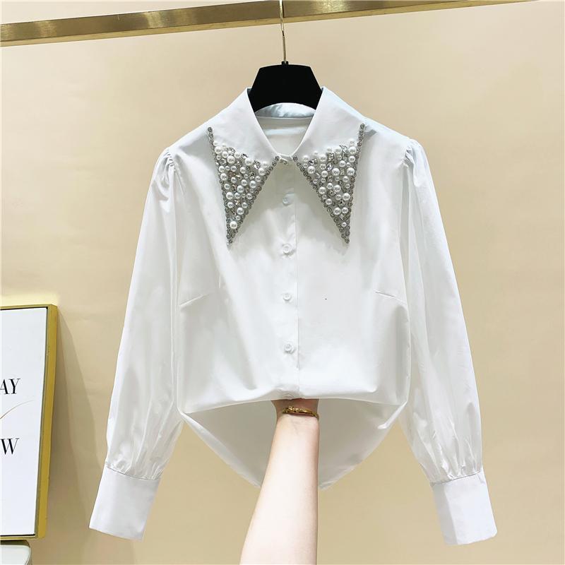 Granules diamants collier poupée de chemise blanche à la femme 2021 printemps nouvelle dame dame chicch top all-match blouse femme 7UJJ