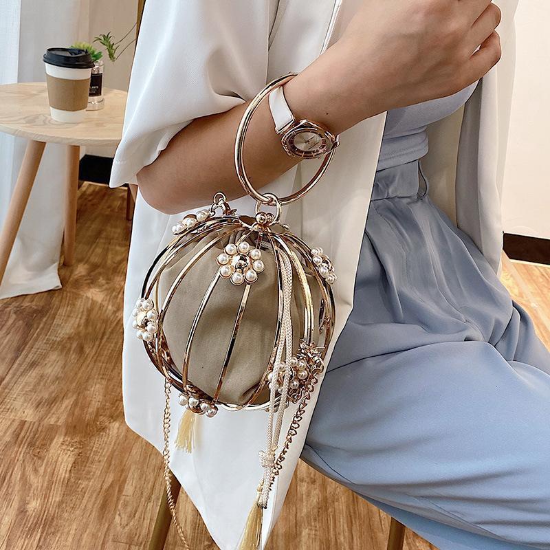Çapraz vücut altın elmas püskül kadınlar metal kristal manşonlar akşam çanta düğün çantası gelin omuz çanta debriyaj çanta