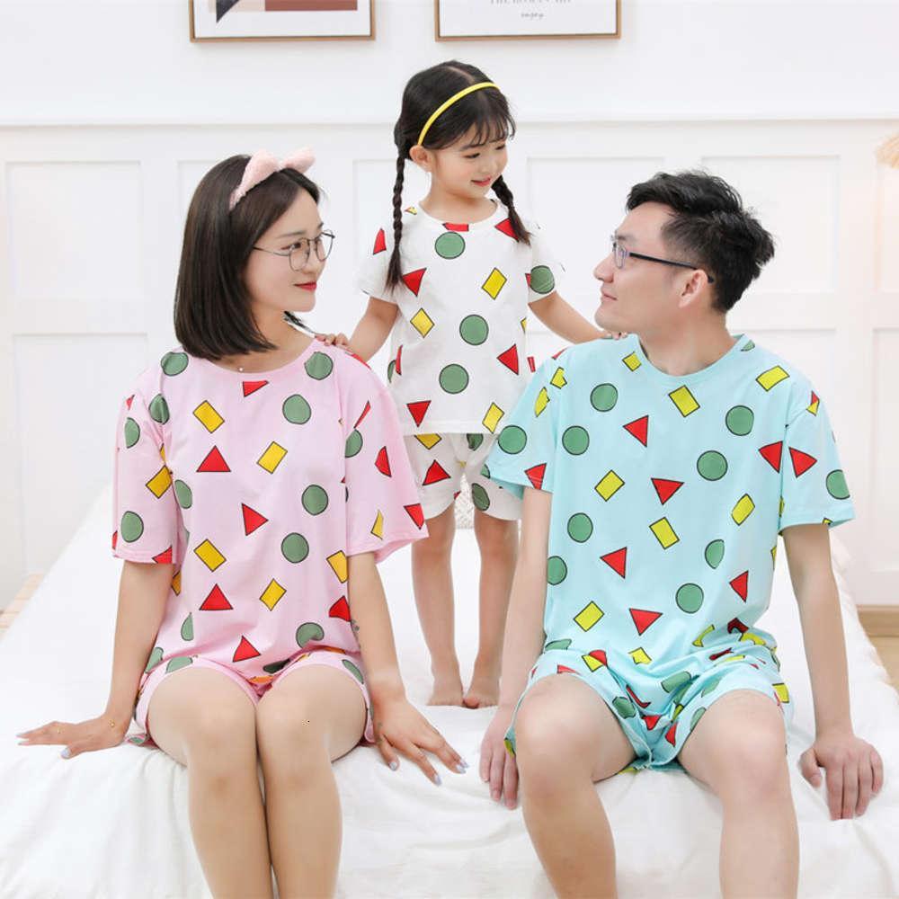 Crayon Xiaoxin Pijama Çocuk Yaz Erkek Çocuk ve Kızların Kısa Kollu Şort Takım Elbise