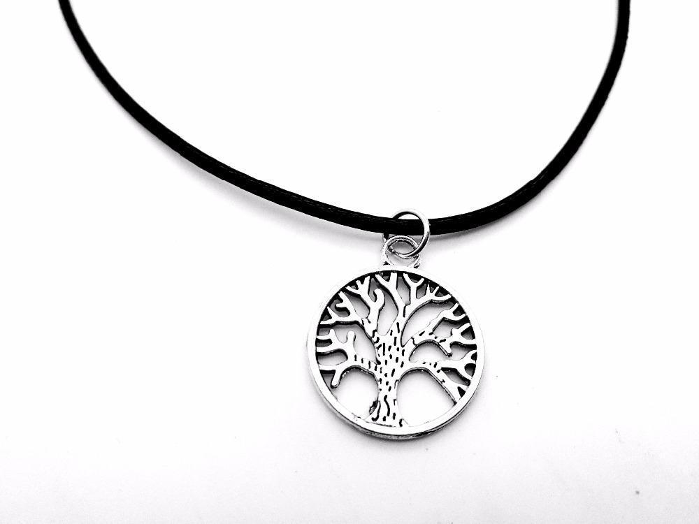 Круглый круг Дерево жизни Ожерелье Семейное дерево Ожерелье Чакра Пальма Prata Кожаные ожерелья