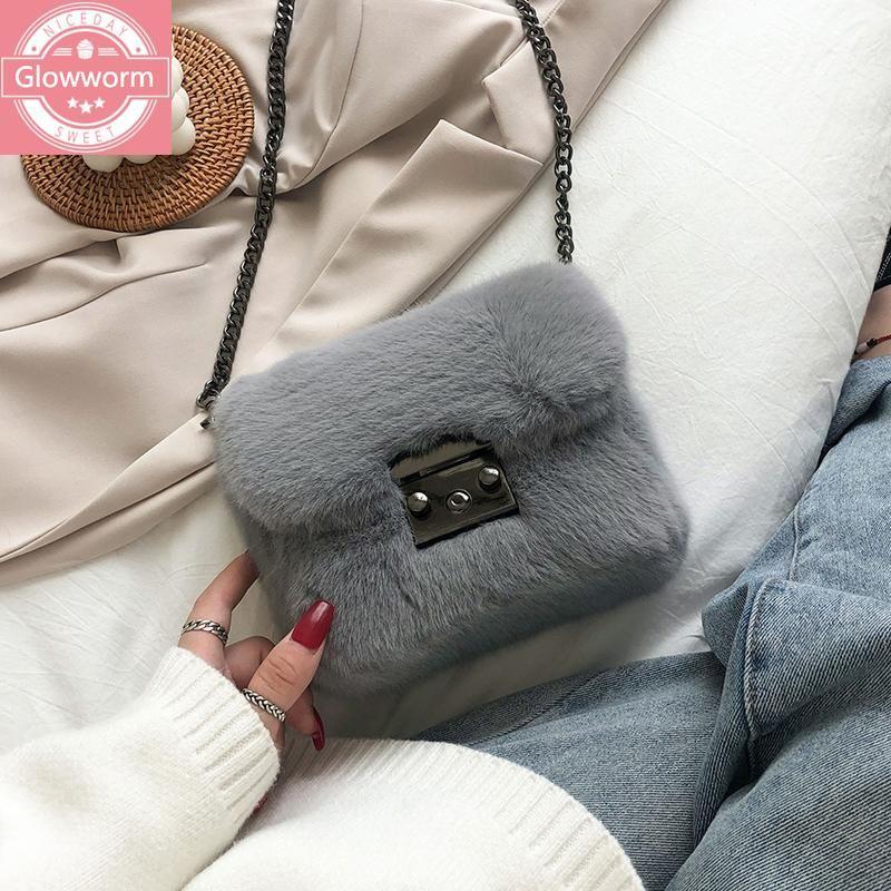 Мода цепь плюшевые маленькие клапаны женщины на ремневые сумки дизайнер мешок сумка роскошный искусственный меховой меховой меховой меховой меховой сумка женский кошелек 2021 зима