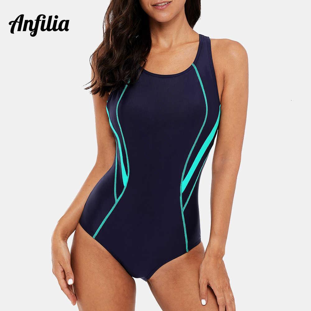 Anfilia Women One Piece Swimwear Sports Swimsuit Backless Beachwear Bathing Suit Training Bikini Monokini