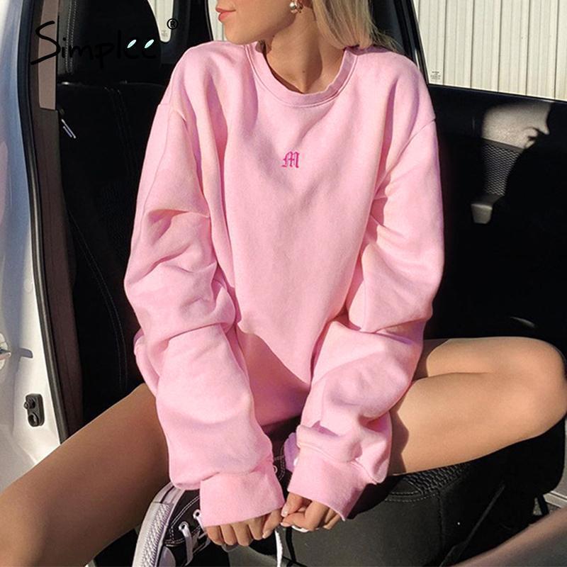 Seco Sudadera de gran tamaño Sweatshirt de manga larga Bordado de manga larga Bordado Sudadera Sudadera Sudadera Black Pink KPOP Nuevo