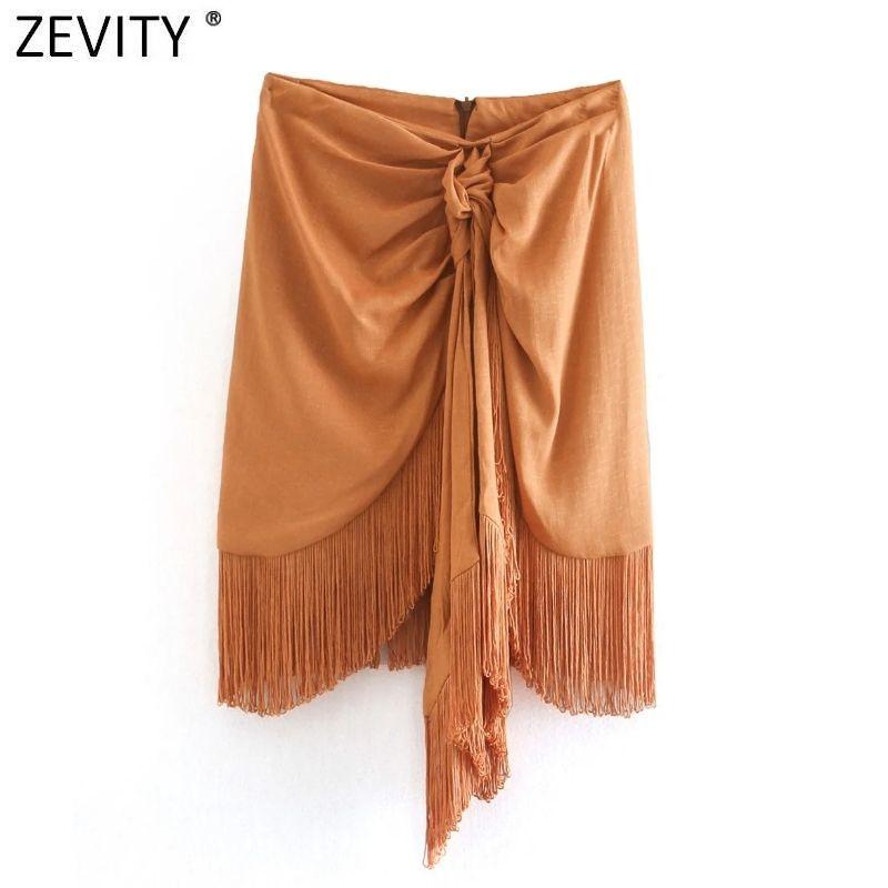 Zevidade Mulheres Moda Sólida Sólida Hem Tassel Casual Saia Slim Faldas Mujer Escritório Senhoras Voltar Zipper Chic Mini Vestido 210305